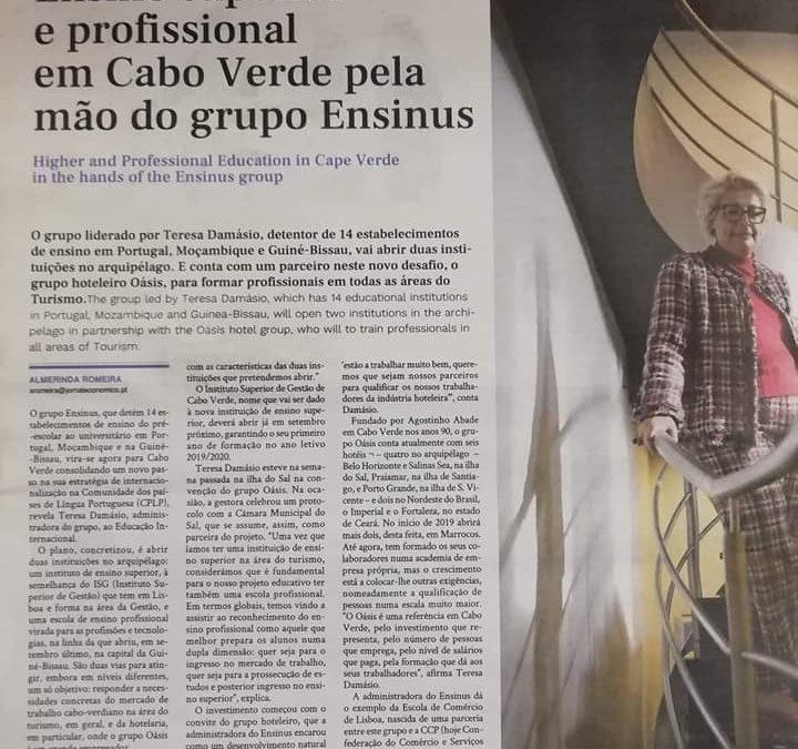 Senhora Administradora do Grupo Ensinus no Jornal Económico