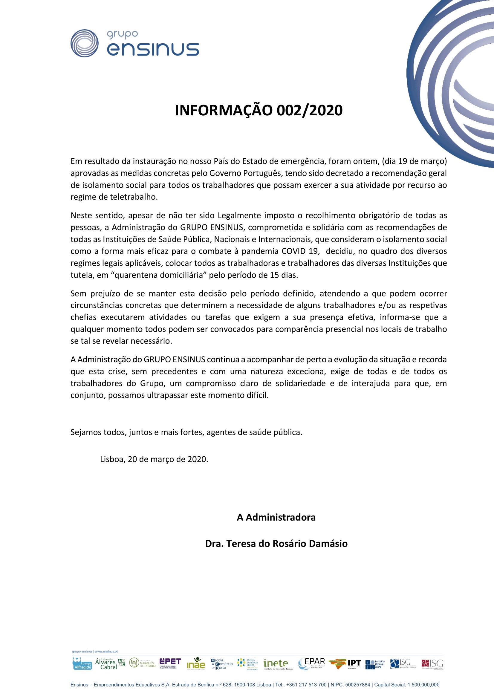 INFORMAÇÃO 002/2020