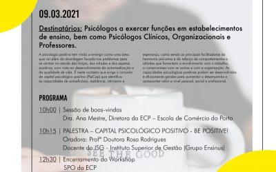 """Escola de Comércio do Porto anuncia Workshop """"Capital Psicológico Postivo: Be positive!"""""""
